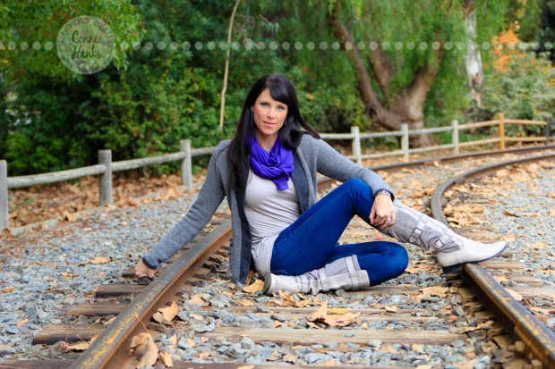 Connie Hanks Photography // ClickyChickCreates.com // rustic, train, tracks, perspective, pose, angle, beautiful