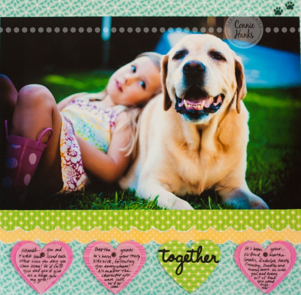 "Connie Hanks Photography // ClickyChickCreates.com // scrapbook layout ""Together"" - little girl with her yellow labrador cuddling and playing in the backyard"