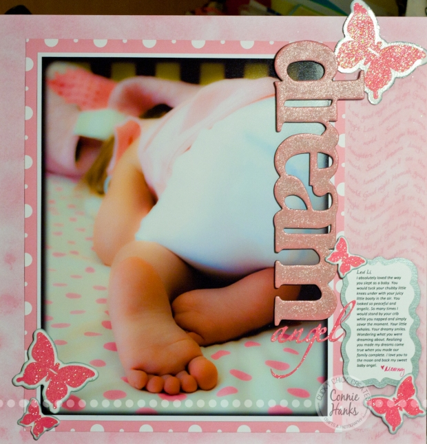 """Connie Hanks Photography // ClickyChickCreates.com // scrapbook layout """"Dream"""" - sleeping little baby with booty in the air, legs tucked under, toes peeking out; lullaby subtly showing in background paper printed on vellum"""