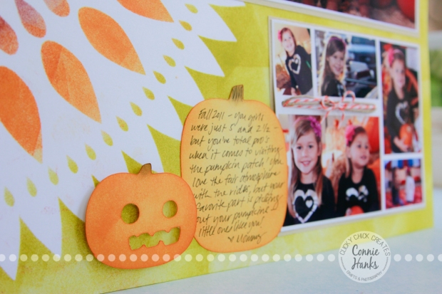 Connie Hanks Photography // ClickyChickCreates.com // It's the Great Pumpkin layout, The Crafter's Workshop Zinnia template, stencil, Tim Holtz Distress Ink Aged Mahogany, Wild Honey, Spiced Marmalade, Crushed Olive, pumpkin patch