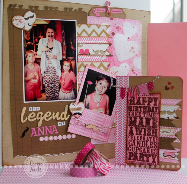Connie Hanks Photography // ClickyChickCreates.com // The Legend of Anna Meatball scrapbook layout using Sweet Stamps Distressed Chevron stamp, Tim Holtz Distress Ink in Picked Raspberry, Dylusions Spray Ink in Bubblegum Pink, washi tape