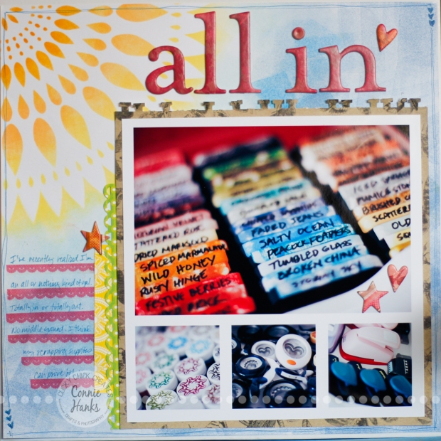 Connie Hanks Photography // ClickyChickCreates.com // All In scrapbook layout using The Crafter's Workshop Zinnia, Tim Holtz Distress Inks, Fiskar punches, embossing powder