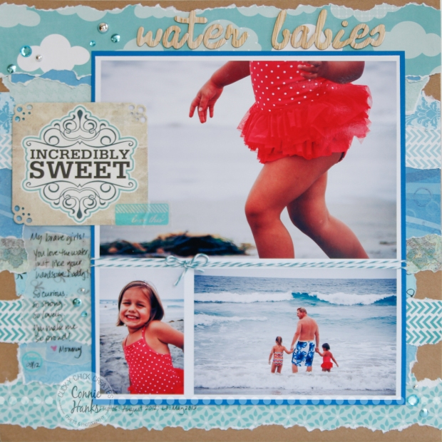 Connie Hanks Photography // ClickyChickCreates.com // Water Babies beach scrapbook layout using torn strips of patterned paper