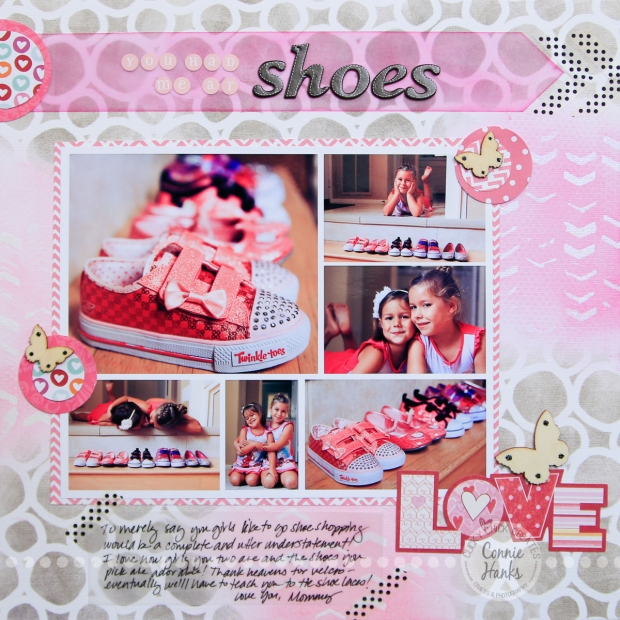 Connie Hanks Photography // ClickyChickCreates.com // You Had Me at Shoes scrapbook layout using templates, stencils, Tim Holtz Distress inks, vellum, wood veneers