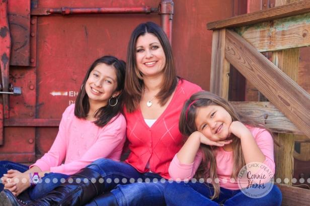 Connie Hanks Photography // ClickyChickCreates.com // extended family photos, rustic park, trains, tracks, pink, gray, denim, adorable!