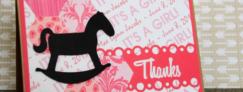 Connie Hanks Photography // ClickyChickCreates.com // Birth announcement, thank you card, rocking horse, Custom Scrapbook Stuff, Fiskars hexagons, embossed, Fiskars border punch bubbles