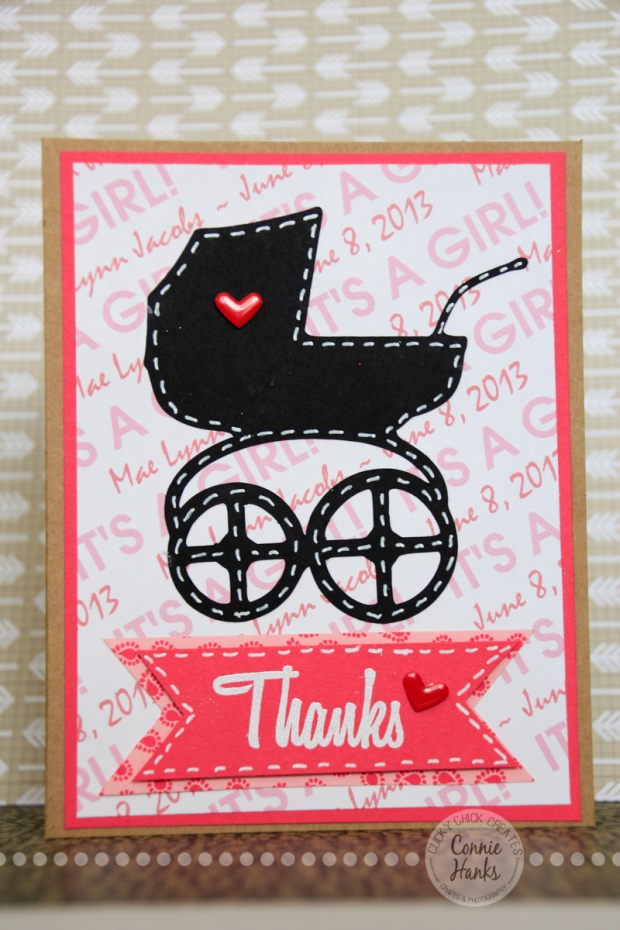 Connie Hanks Photography // ClickyChickCreates.com // Birth announcement, thank you card, stroller, pram, buggy, Custom Scrapbook Stuff, embossed