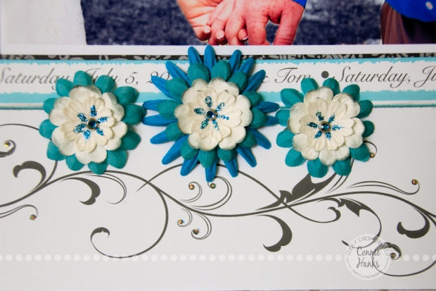 Connie Hanks Photography // ClickyChickCreates.com // Wedding scrapbook layout, flowers, love, banner,custom paper, Custom Scrapbook Stuff