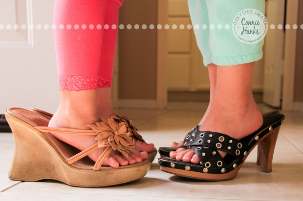 Connie Hanks Photography // ClickyChickCreates.com // Little Girls wearing Mama's shoes, dress up, toes, growing up