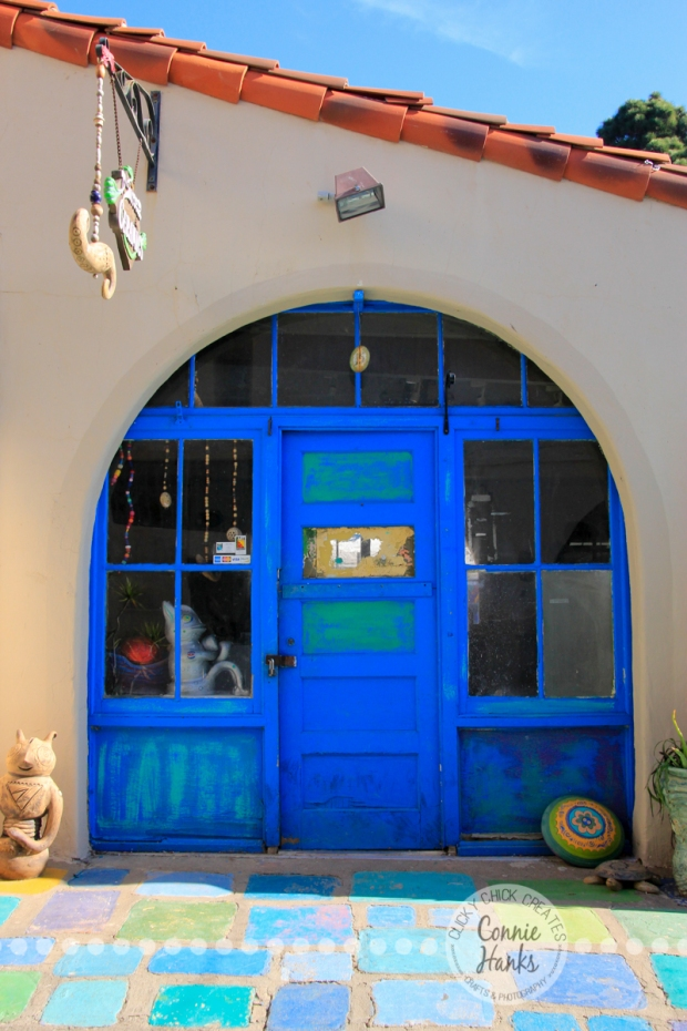 Connie Hanks Photography // ClickyChickCreates.com // doors of Balboa Park, Spanish Village, artists, blue, teal, turquoise, yellow, tan, khaki, tiles, floor,