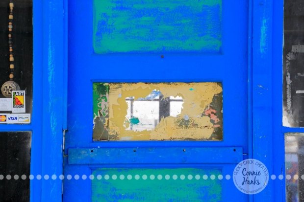 Connie Hanks Photography // ClickyChickCreates.com // doors of Balboa Park, Spanish Village, artists, blue, teal, turquoise, yellow, khaki