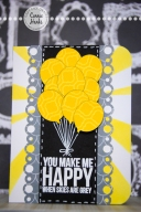 Connie Hanks Photography // ClickyChickCreates.com // You Make Me Happy when skies are grey card, Heidi Swapp sunshine stencil, KaiserCraft stamp, My Mind's Eye paper, embossing, balloons,