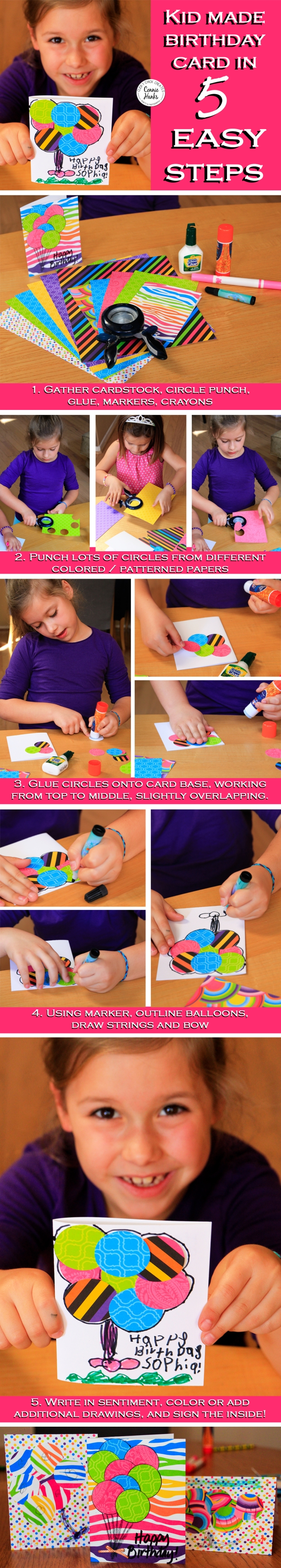 Connie Hanks Photography // ClickyChickCreates.com // kids handmade birthday card with balloons in 5 quick and easy steps