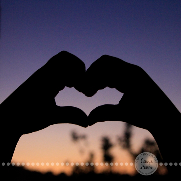 Connie Hanks Photography // ClickyChickCreates.com // heart, hands, silhouette, sunset, little girl hands