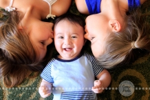 Connie Hanks Photography // ClickyChickCreates.com // Oh Boy! My baby boy nephew getting kisses from his cousins (my daughters)! LOVE his smile and giggles!