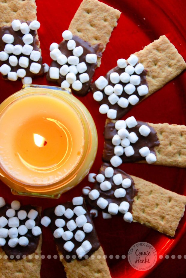 Connie Hanks Photography // ClickyChickCreates.com // s'mores, mini marshmallows, mallow bits, graham crackers, melted chocolate, candle, dessert, yummy, kid friendly