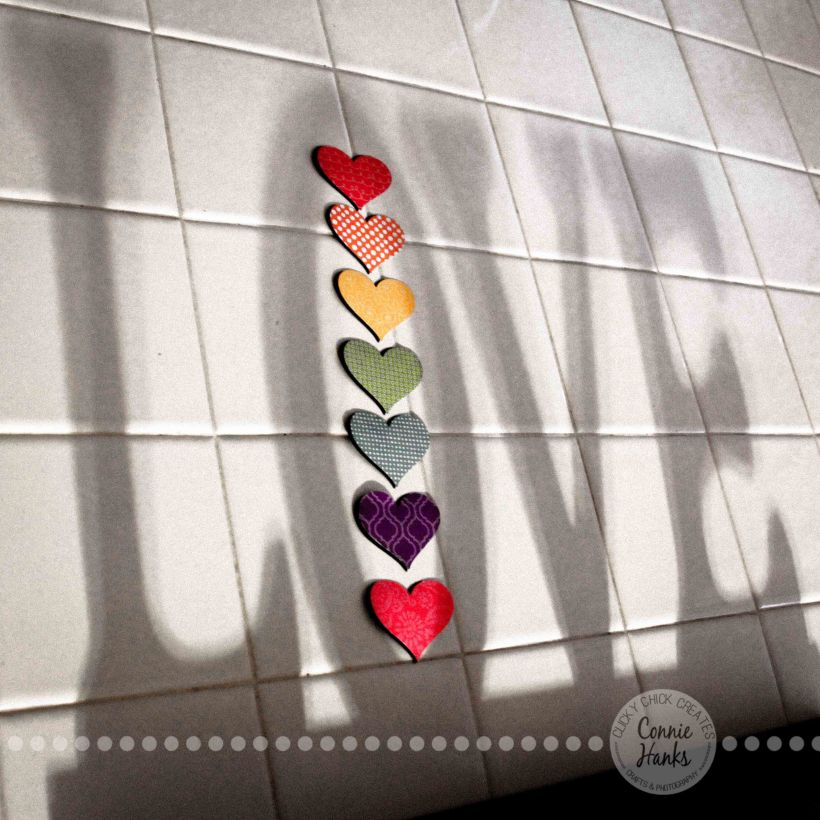 Connie Hanks Photography // ClickyChickCreates.com // Love, shadow, hearts, color, B&W, square, Valentine's, decor, art