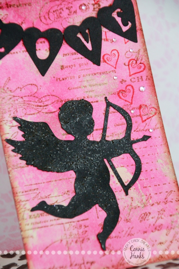 Connie Hanks Photography // ClickyChickCreates.com // Cupid and LOVE banner tag, Picked Raspberry Distress Ink, Spun Sugar Distress Stain, handmade