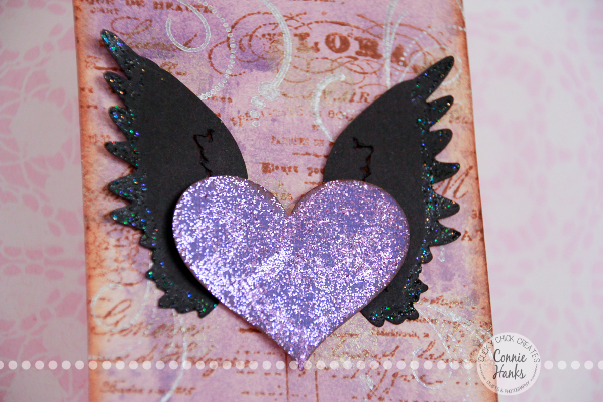 Connie Hanks Photography // ClickyChickCreates.com // My Love, glitter heart with wings tag, Milled Lavender and Dusty Concord Distress Stain, handmade