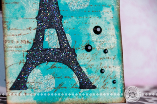 Connie Hanks Photography // ClickyChickCreates.com // Amour, glitter Eiffel Tower tag, Tumbled Glass and Broken China Distress Stain, handmade