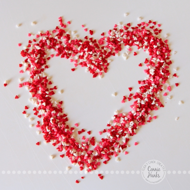 Connie Hanks Photography // ClickyChickCreates.com // heart made of sprinkles, sprinkled heart, red, pink, white