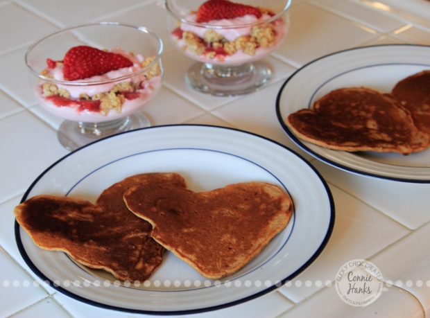 Connie Hanks Photography // ClickyChickCreates.com // Valentine's Day breakfast of fresh strawberry pancakes and fresh homemade strawberry greek yogurt parfaits
