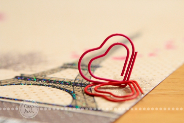Connie Hanks Photography // ClickyChickCreates.com // heart shaped paper clip, Eiffel tower, pretty paper