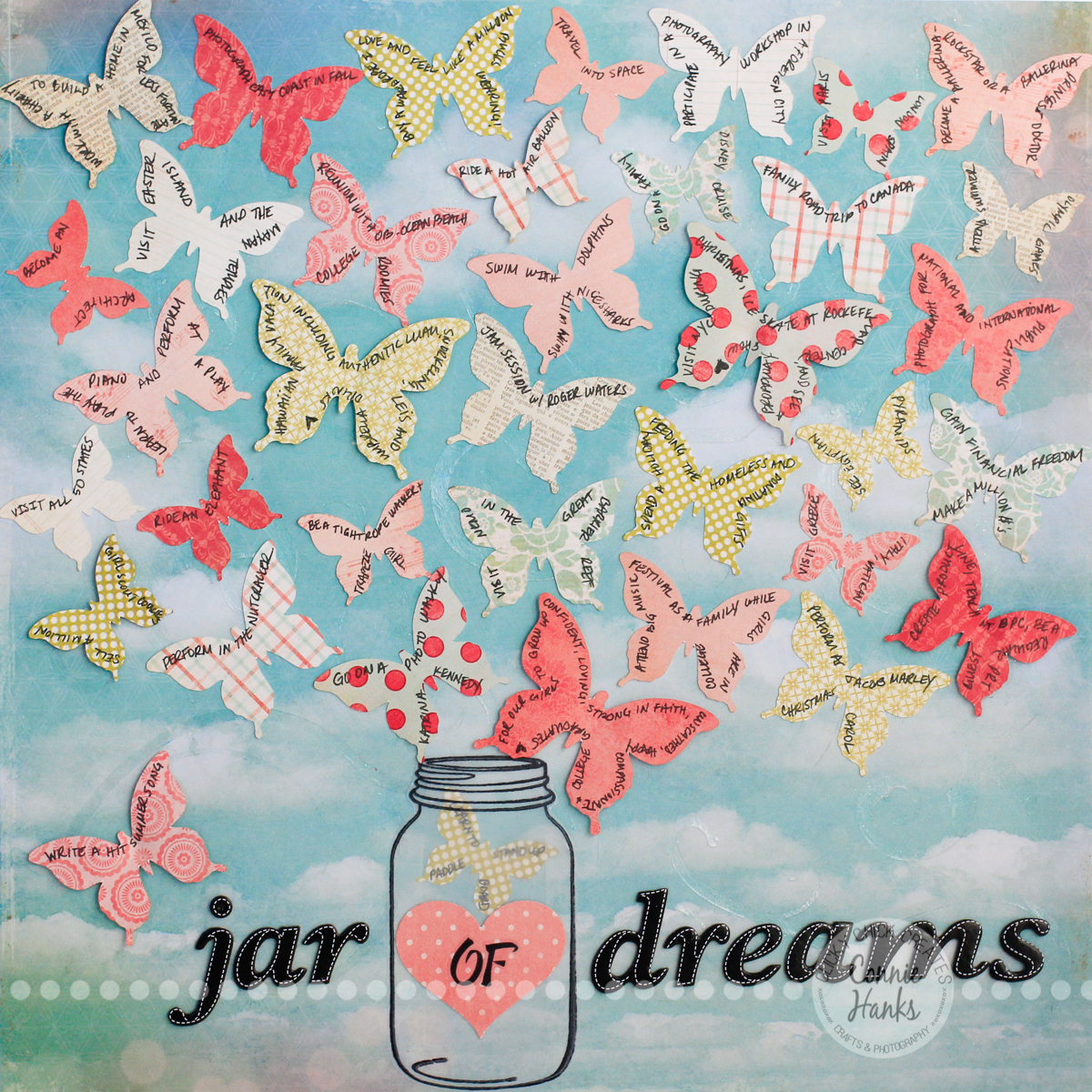 Scrapbook ideas list - Connie Hanks Photography Clickychickcreates Com Jar Of Dreams Layout With Butterflies