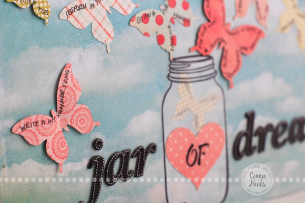 Connie Hanks Photography // ClickyChickCreates.com // Jar of Dreams layout with butterflies, bucket list, life goals