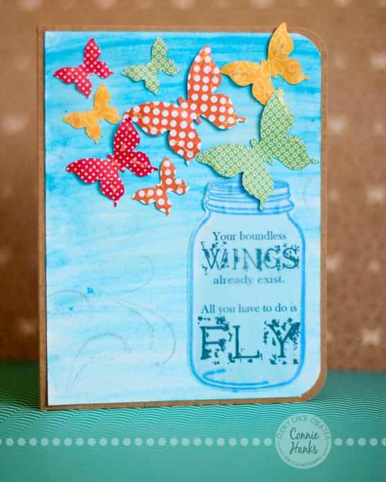 Connie Hanks Photography // ClickyChickCreates.com // Your boundless wings already exist. All you have to do is fly. handmade card with butterflies and mason jar.