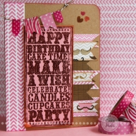 Connie Hanks Photography // ClickyChickCreates.com // stamped and embossed birthday card with washi tape banner