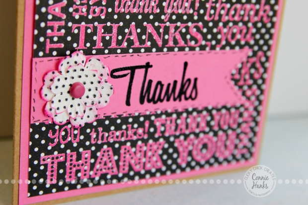 Connie Hanks Photography // ClickyChickCreates.com // handmade thank you card with stamping and embossing