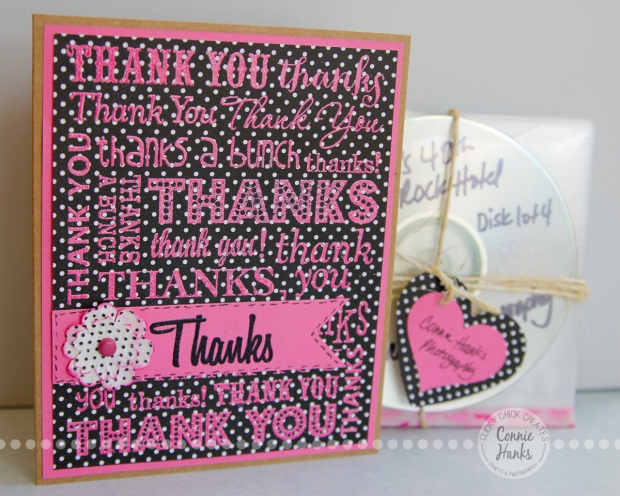 Connie Hanks Photography // ClickyChickCreates.com // handmade thank you card with stamping and embossing with heart punched embellishment