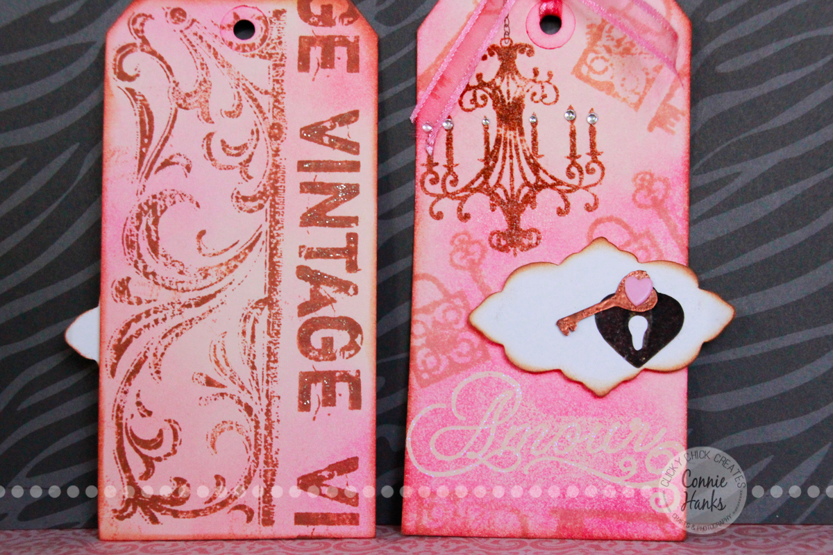 Connie Hanks Photography // ClickyChickCreates.com // stamped and embossed tag with additional background stamping
