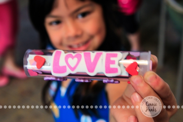 Connie Hanks Photography // ClickyChickCreates.com // Valentine's Day craft for kids, love, tube, stickers, self esteem, positive, Daisy, troop