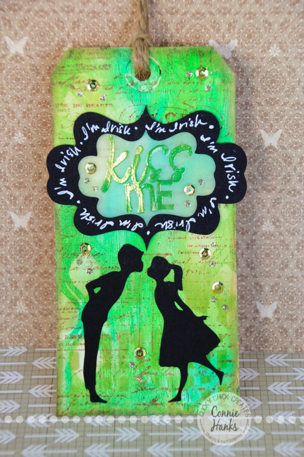 Connie Hanks Photography // ClickyChickCreates.com // St. Patrick's Lucky horseshoe and gold tag made using Gelatos, Distress Inks, KaisterCraft stamp, Slice Je t'adore design card