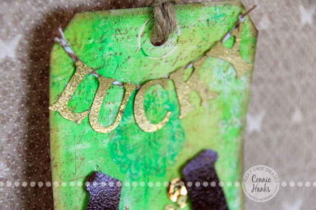 Connie Hanks Photography // ClickyChickCreates.com // St. Patrick's Lucky and gold tag made using Gelatos, Distress Inks, KaisterCraft stamp, Technique Tuesday stamp, Irish blessing, sequins
