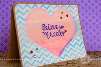 Connie Hanks Photography // ClickyChickCreates.com // Believe in Miracles card using gelatos, stencils, ink, embossing, pink, purple, lavender, blue, craft and sequins