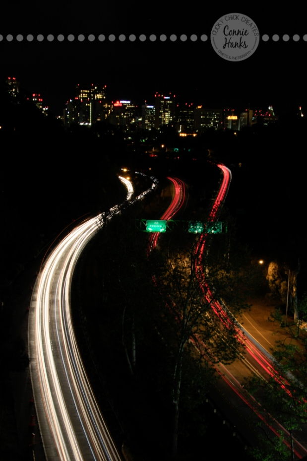 Connie Hanks Photography // ClickyChickCreates.com // Long exposure shot from bridge in Balboa Park over 163 with San Diego skyline in the background