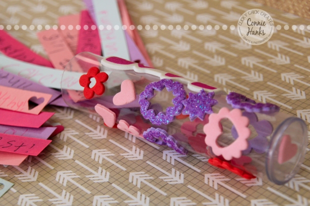 Connie Hanks Photography // ClickyChickCreates.com // Valentine's Day craft for kids, love, tube, stickers, self esteem, positive, characteristics, self esteem builder, Daisies, Brownies, Girl Scouts, troop