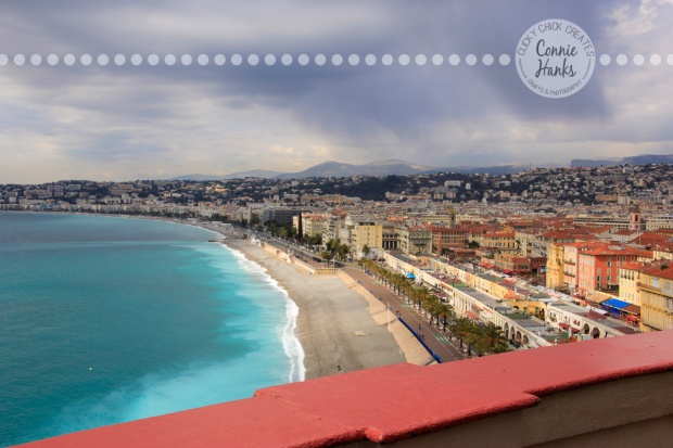 Connie Hanks Photography // ClickyChickCreates.com // view of Nice, France, Cote D'Azur, beach, ocean, city, village,