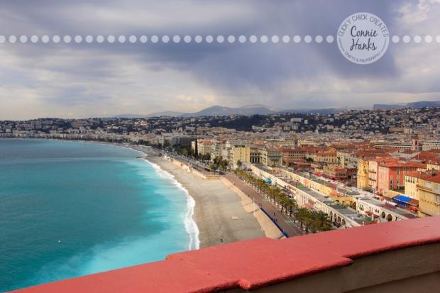 Connie Hanks Photography // ClickyChickCreates.com // view of Nice, France, Cote D'Azur, beach, ocean, city, village,