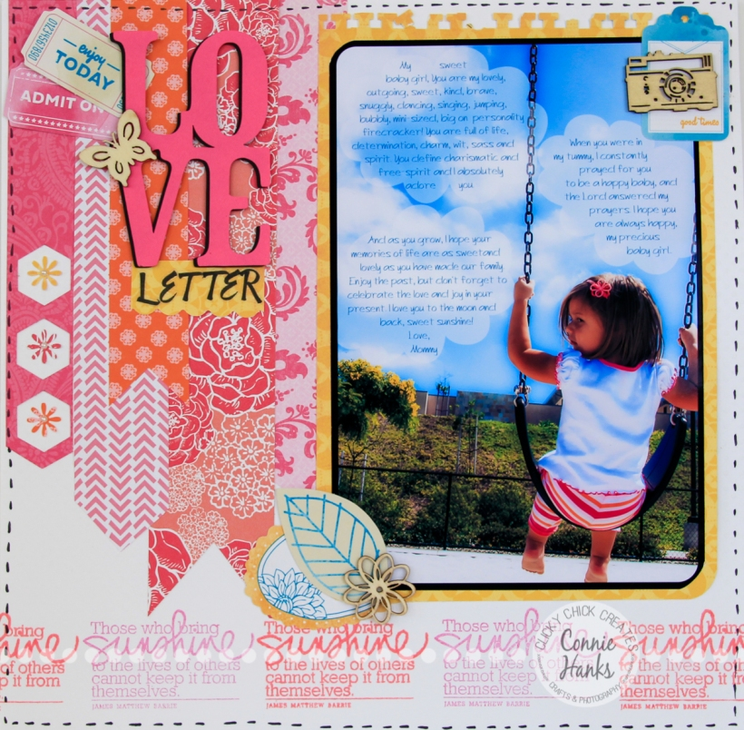 Connie Hanks Photography // ClickyChickCreates.com // Love Letter scrapbook layout using text journaling on photo; banners, stamps, wood veneers, Amy Tangerine, pink, orange, yellow