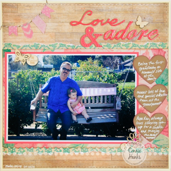Connie Hanks Photography // ClickyChickCreates.com // Love & Adore scrapbook layout using Maggie Holmes Crate Paper, washi banner, journaling on kraft punched hearts, wood veneers