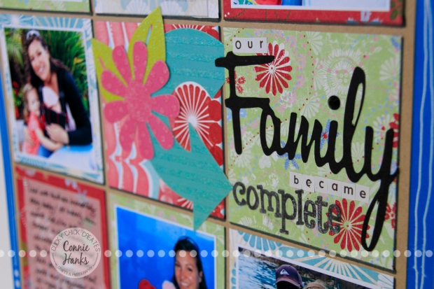 Connie Hanks Photography // ClickyChickCreates.com // Our Family Became Complete - scrapbook page in grid format using old product - looks fresh