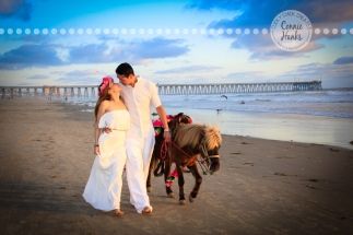 Connie Hanks Photography // ClickyChickCreates.com // engagement couple session, Rosarito, Mexico beach, pony, flower head wreath