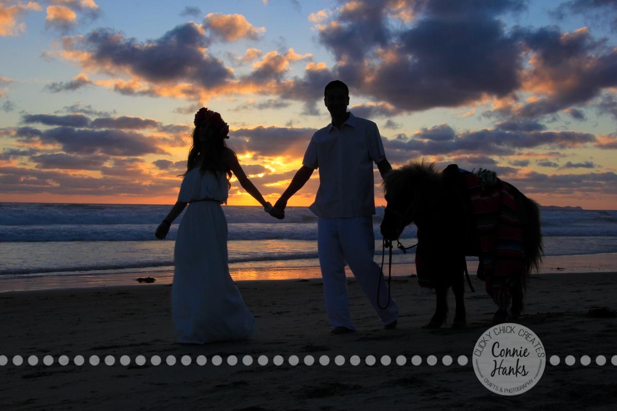 Connie Hanks Photography // ClickyChickCreates.com // engagement couple session, Rosarito, Mexico beach, pony, flower head wreath
