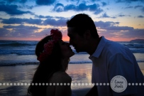 Connie Hanks Photography // ClickyChickCreates.com // engagement couple session, Rosarito, Mexico beach, flower head wreath, silhouette