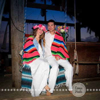 Connie Hanks Photography // ClickyChickCreates.com // engagement couple session, Rosarito, Mexico beach, flower head wreath, Mexican blanket
