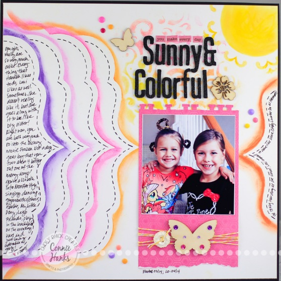 Connie Hanks Photography // ClickyChickCreates.com // Sunny & Colorful scrapbook layout using The Crafter's Workshop stencils, Gelatos, wood veneers, home made enamel dots